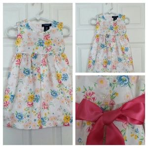 CHAPS DRESS Girls Size 18 Months WHITE FLORAL Pink